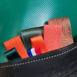 surcyclum, sac Kbas, chambre à air, bâche de camion, ruban, satin, velour, organza
