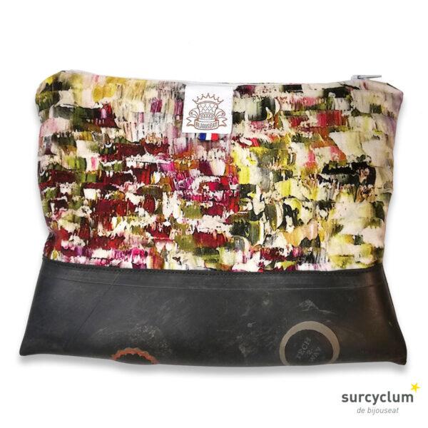 surcyclum, pochette, surcyclage, tissus tapissier, soie, satin, chambre à air, recyclage